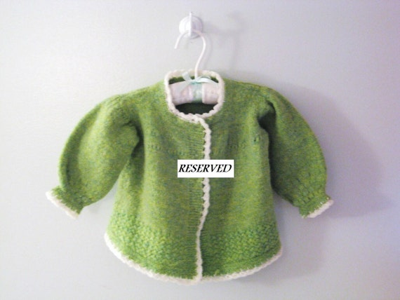 """RESERVED - 1970's Hand Knit Green and White """"Swing"""" Sweater"""