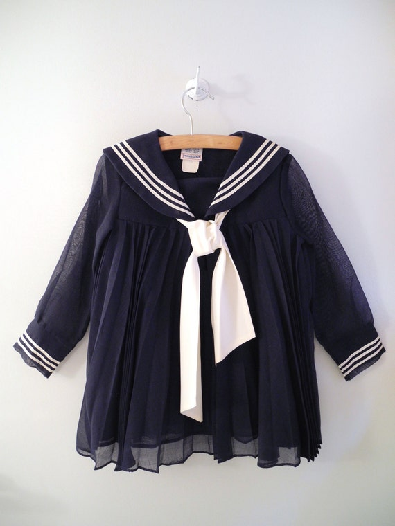 1960's Navy and Ivory Pleated Long Sleeve Sailor Dress