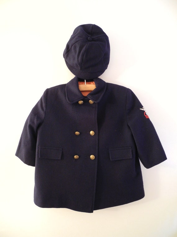1950's Navy Military Style Double Breasted Wool Coat and Cap Set