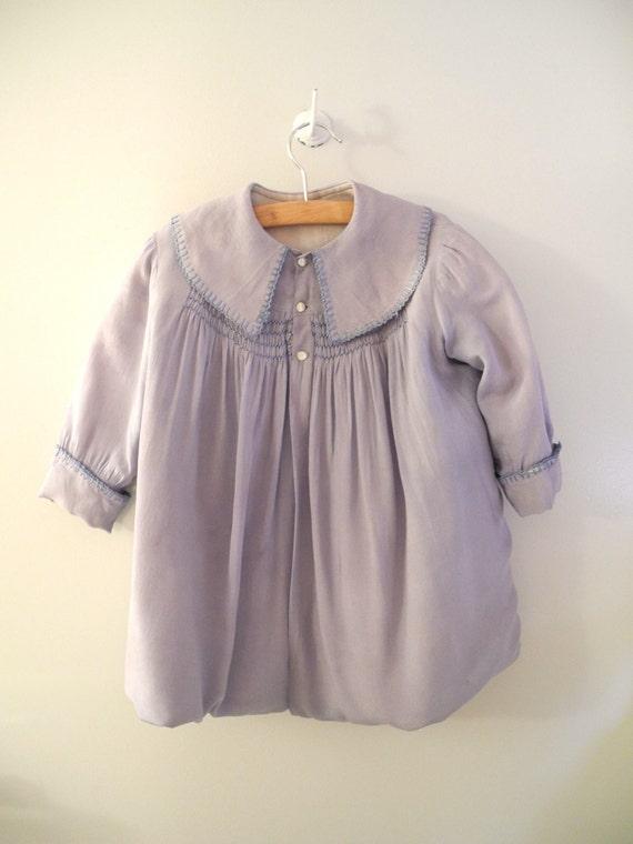 Turn of the Century Handmade Powder Blue Long Sleeve Silk Swing Coat