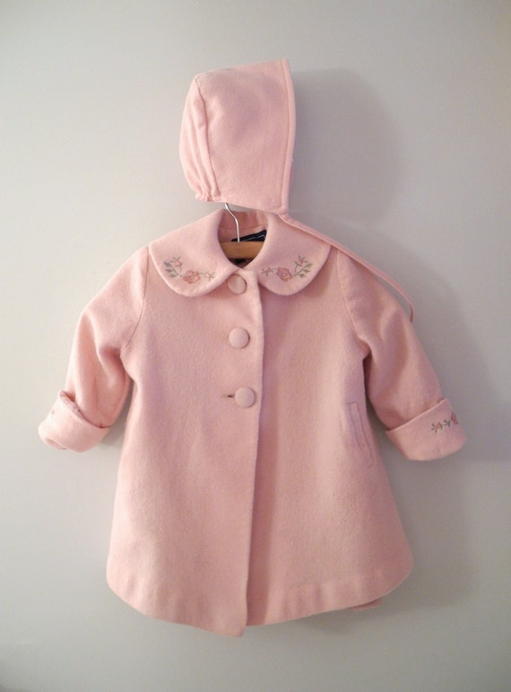 1970's Rothschild Mauve Pink Wool Coat and Bonnet Set