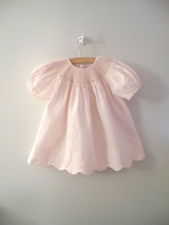 1970's Petal Pink Linen Smocked Rosette Dress