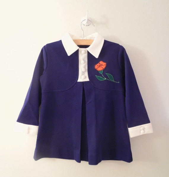 Vintage Baby Clothes, 1970's Navy Blue and White Baby Girl Dress, Size 4T