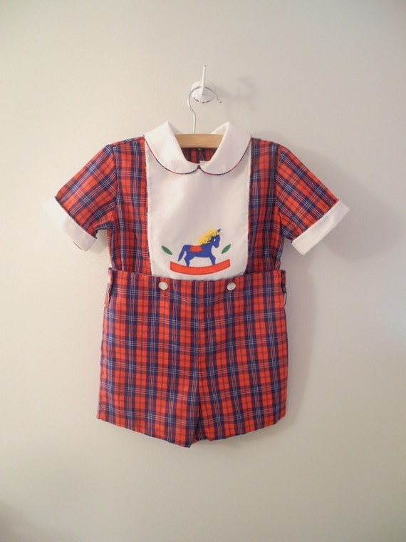 """1970's Navy and Red Plaid """"Rocking Horse"""" Romper"""