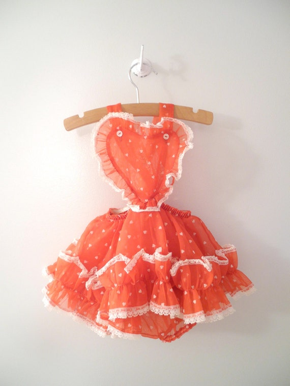 "1950's Red and White Chiffon ""Heart"" Sun Suit"