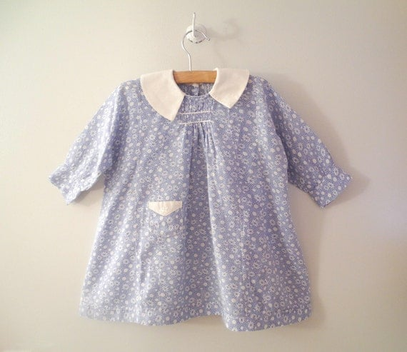 1930's Handmade Blue and White Floral Feed Sack Dress