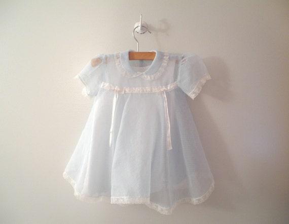 1950s Powder Blue and White Dotted Swiss Chiffon Dress and Petticoat