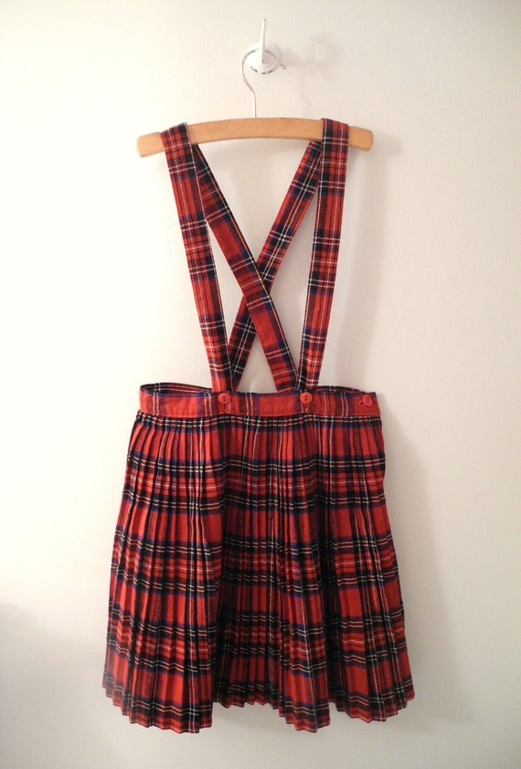 1960's Red, Blue and White Plaid Wool Pleated Dress