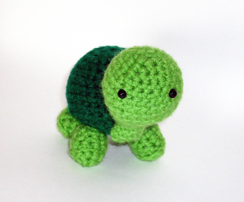 Crocheting Stuffed Animals : Amigurumi Crochet Turtle Stuffed Animal Green by teslas90 on Etsy