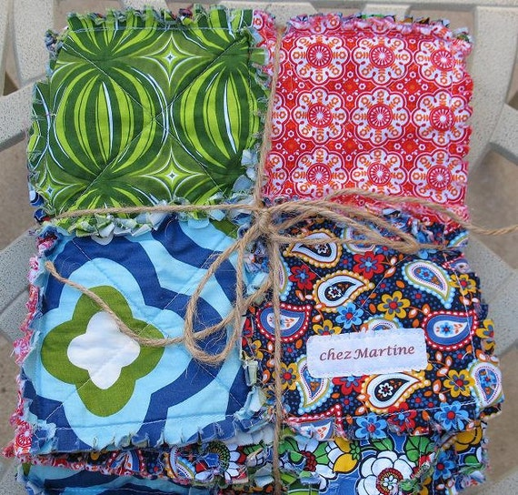 RESERVED  rag quilt -  bright primary colors Anthology reversible baby size