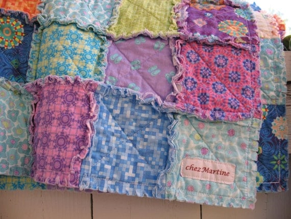RESERVED for Jackie    rag quilt crib or lap size - Sea Breeze