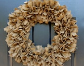 Large Idaho Potato Burlap Fabric Rag Wreath