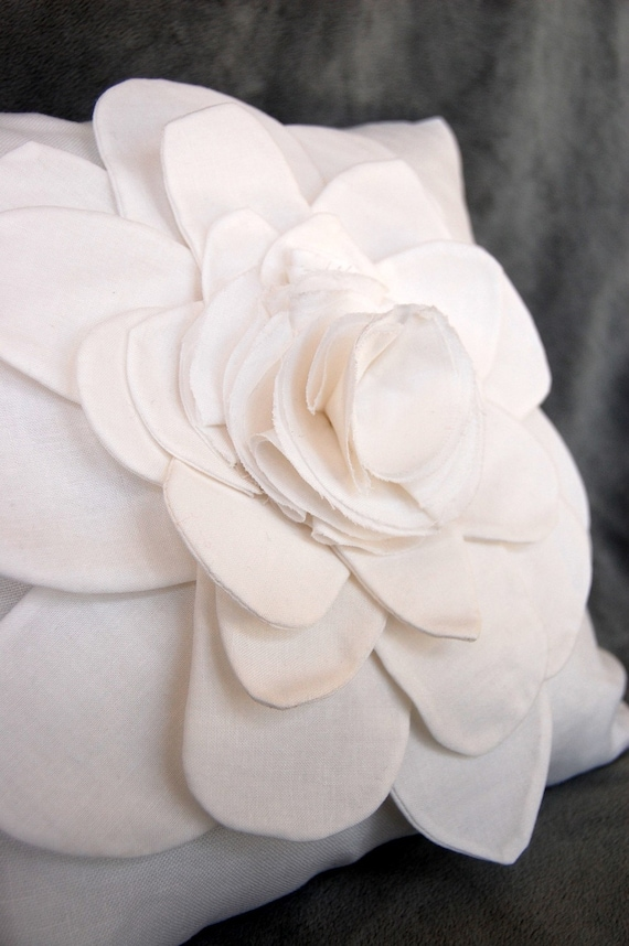 Shabby Chic Linen Pillows : Shabby Chic White Linen Flower Pillow Cover by TheSimpleStandard