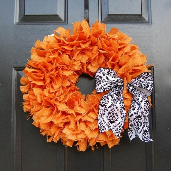 Halloween Burlap Rag Wreath