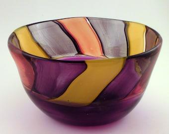 Purple Carnival Stripe Bowl