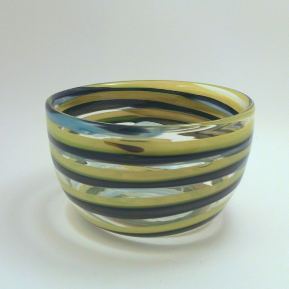 Green and Yellow Banded Bowl