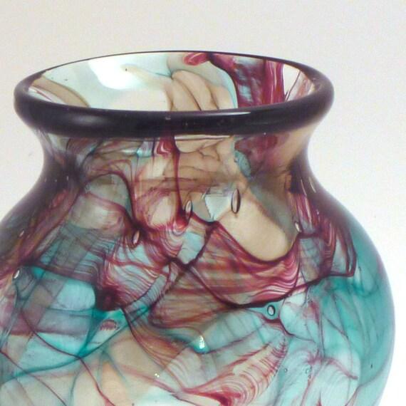 Aqua and Burnt Red Vase