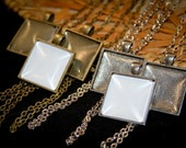 6 KITS -1 inch Square (Makes 6 Necklaces)  Includes 6  pendants, 6 clear domed glass and 6 matching necklaces