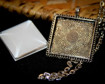 6 KITS Beaded Square Necklace sets ( 1 inch - 25 mm) Includes High quality pendants, crystal clear domed glass and matching necklaces