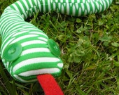 Children's Upcycled Plush Snake Doll or Bendable Toy Green and White with Green eyes