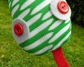 Children's Upcycled  Plush Snake Doll or Toy Soft and Bendable Green and White with Grey and Red Eyes