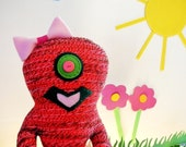Cute Monster Girl with Pink Tutu or Monster Toy or Plush Monster made from upcycled materials Eco Friendly