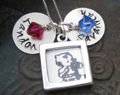 Name Stamped Photo Charm Sterling Silver Necklace