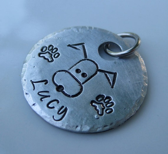 Hand Stamped Aluminum Pet ID Tag