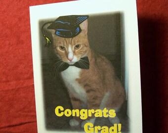 Congrats Grad (Cat Wearing Graduation Cap and Bow Tie) Card