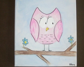 acrylic canvas painting/ Pink the Owl