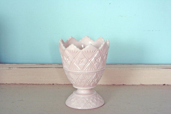 Pink Milk Glass Napco/Jeannette Footed Candy Dish