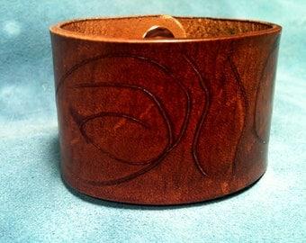 Mens Leather Cuff Bracelet, Cherry Brown