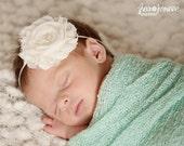 Baby Headband - Newborn Headband - Ivory Shabby Chic Chiffon Rosette Skinny Headband - Baby Photography Prop Wedding Flower Girl