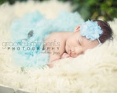 Baby Headbands - Newborn Headband - Baby Blue Shabby Chic Chiffon Rosette Skinny Headband - Baby Photography Prop Wedding Flower Girl