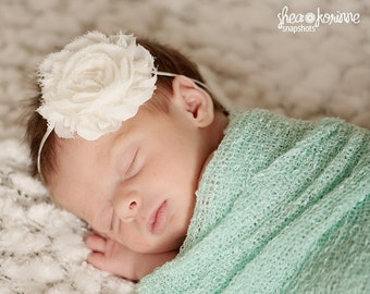 Baby Headband - Newborn Headband - Ivory Shabby Chic Chiffon Rosette Skinny Headband - Baby Photography Prop Wedding Flower Girl