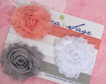 PICK 5 Shabby Chic Headbands Set, Rosette Baby headbands, newborn headbands, toddler headbands, girl headbands, Photography Prop for Baby