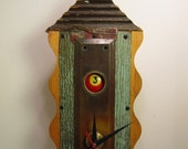 """Found Object Art Wall Clock: """"Oddball"""". One of a kind, playful and eclectic."""
