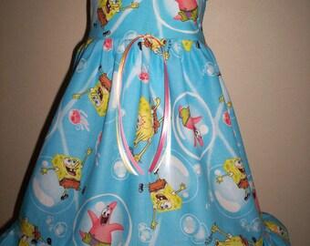 Boutique SPONGEBOB DRESS Girl 3m 6m 9m 12m 18m 24m 2t 3t 4t 5t 6Yr - SarahsRainbow