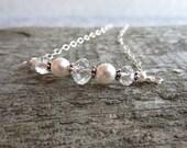 White Swarovski Necklace, Pearl Necklace, Swedish Jewelry Design, Made in Sweden