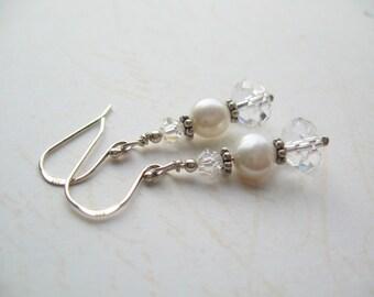White Freshwater Pearl Earrings, Swarovski Earrings, Swedish Jewelry Design, Made in Sweden
