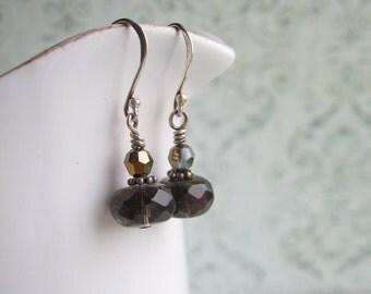 Swarovski Earrings, Crystal Earrings, Smokey Quartz Earrings, Swedish Jewelry, Made in Sweden,
