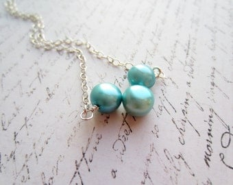 Turquoise Pearl Necklace, Bridal Party Jewelry, Swedish Jewelry Design, Made In Sweden, Scandinavian Jewelry