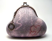 Felted Wool Purse, grey with pink