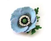 Felt brooch pale blue Poppy, ready to ship
