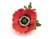 Felt flower brooch coral Poppy