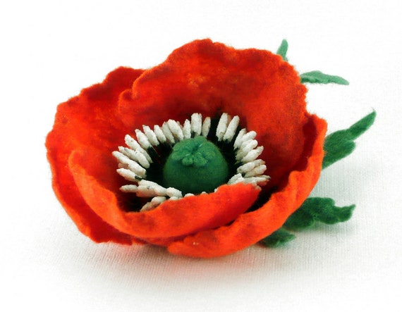 Felted flower hair clip red poppy eco friendly OOAK ready to ship gift under 35