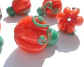 Set of six glass lampwork pumpkin beads for Halloween