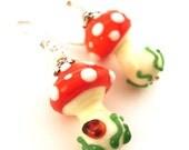 Toadstool earrings , glass lampwork earrings , lampwork bead red / pink / green ,silver earrings ,artisan lampwork earrings ,beaded earrings