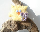 Owl miniature sculpture felted figure cute owl figurine Knitted owl toy bird flower