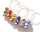 Handmade lampwork wine charms  SNAKE - set of six-